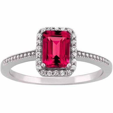 Created Ruby And Cz Sterling Silver Emerald Cut Halo Ring