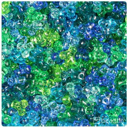- BeadTin Green & Blue Mix Transparent 11mm TriBead Craft Beads (600pcs)