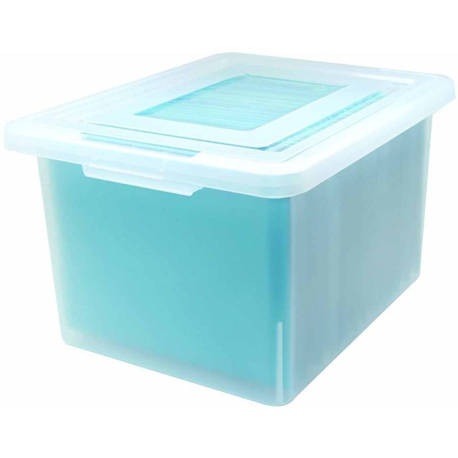 "IRiS Letter Or Legal Size File Box, 14.26"" x 18.08"" x 10.82"", Clear"