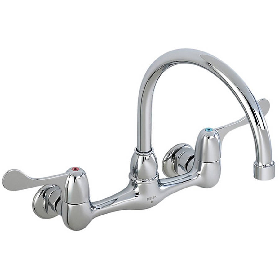 Delta 28P4902LF Commercial Double Handle Lavatory Faucet With Tubular Swing  Gooseneck Spout And Vandal Resistant Hooded