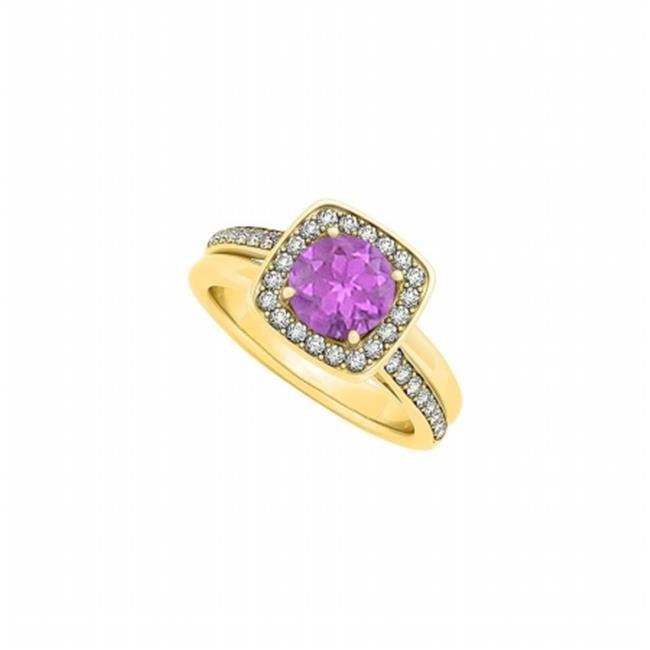 Fine Jewelry Vault UBNR84335AGVYCZAM February Birthstone Amethyst & CZ Ring - 1.50 CT TGW , 32 Stones