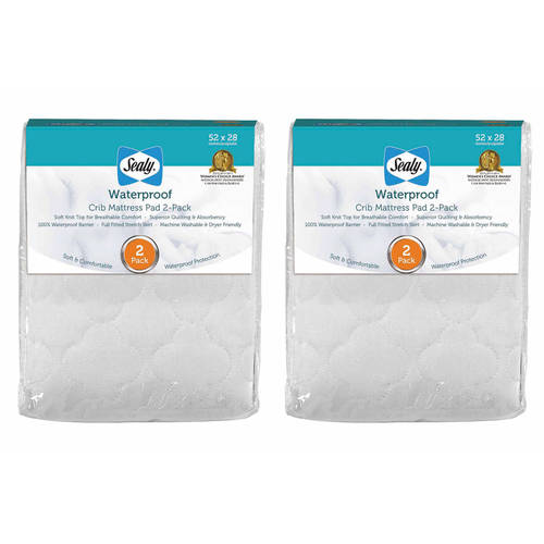 Sealy Waterproof Crib Mattress Pad, 2-Pack Value Bundle