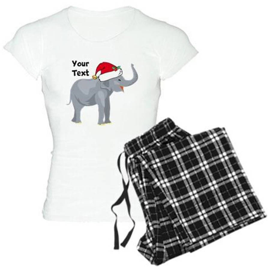 Cafepress Personalized Christmas Elephant Women's Light Pajamas