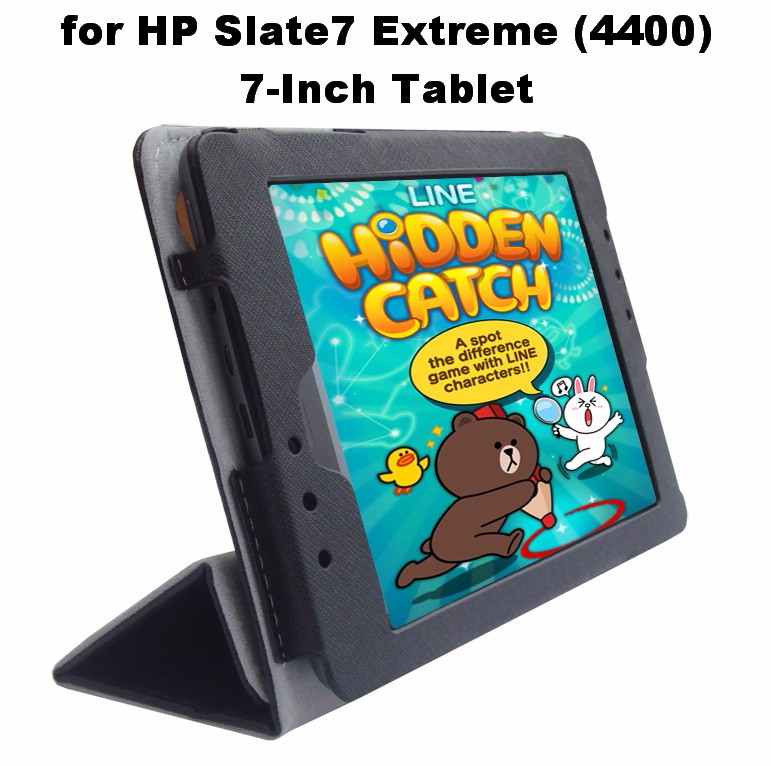 Black Portfolio Leather Smart Cover Case with Built In Stand Custom Fit for HP Slate 7 Extreme (4400) 7-Inch Tablet