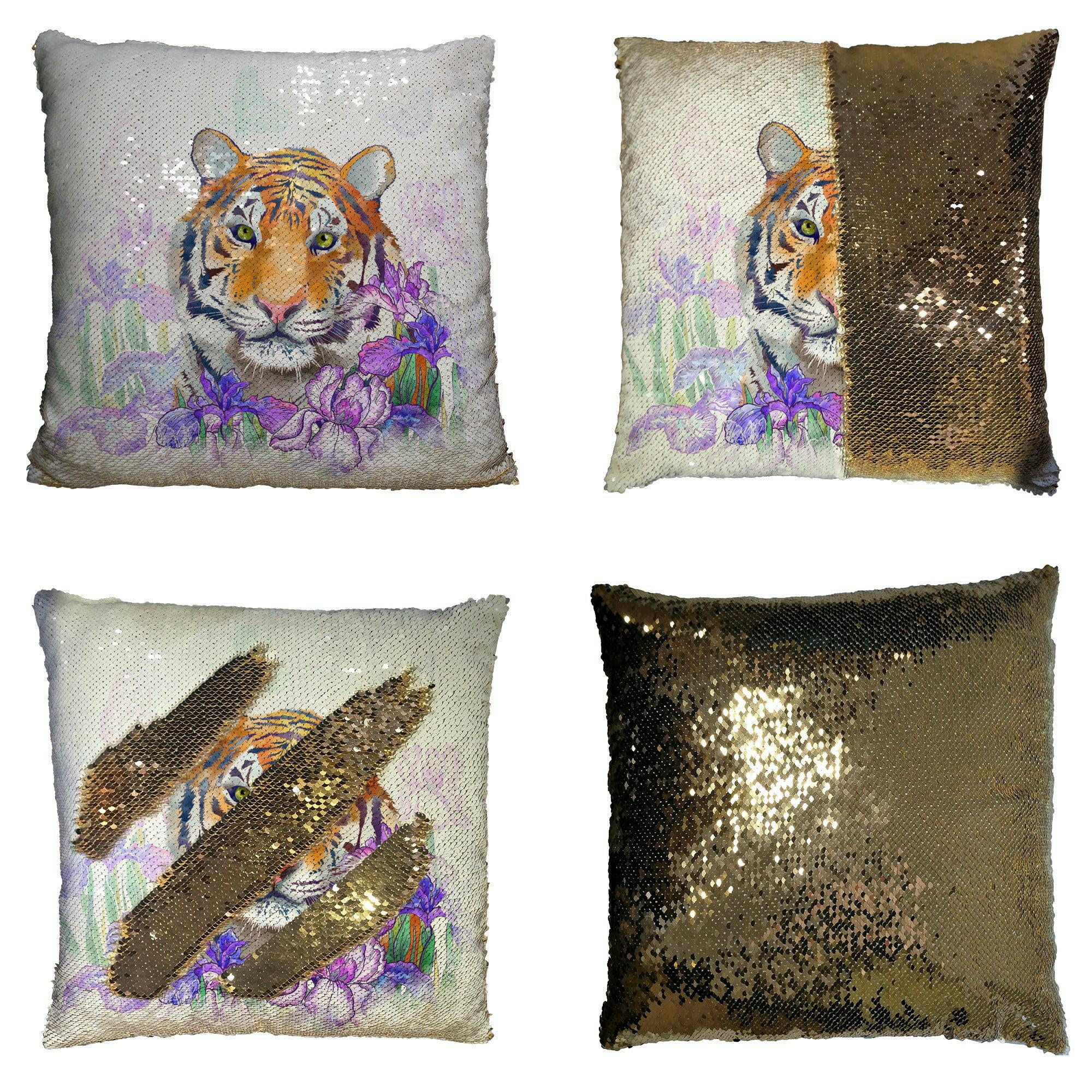 Abphqto Tiger And Flowers Iris Reversible Mermaid Sequin Pillow Case Home Decor Cushion Cover 18x18 Inch Walmart Com Walmart Com