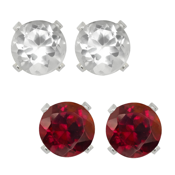 Sterling Silver 4mm Red Garnet and White Topaz Stud Earrings Set of 2