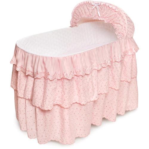 Pink Eyelet Three-Tier Bedding-only Set for Jumbo Bassinets (Skirt/Liner, Hood Cover, Sheet)