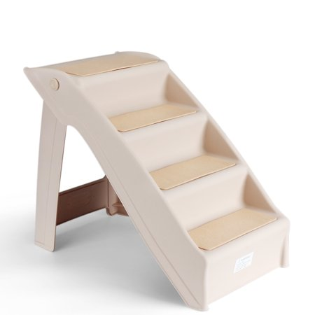 - Pet Stairs Folding Dog Cat Animal Step Ramp Ladder Foldable Plastic Portable for Tall Bed Indoor Outdoor Decor Supply Easy Store in Beige