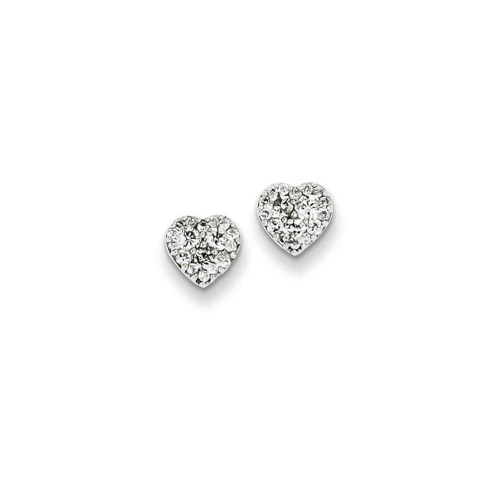 Sterling Silver Rhodium Plated Diamond Heart Post Earrings. Carat Wt- 0.5ct (6.46MM)