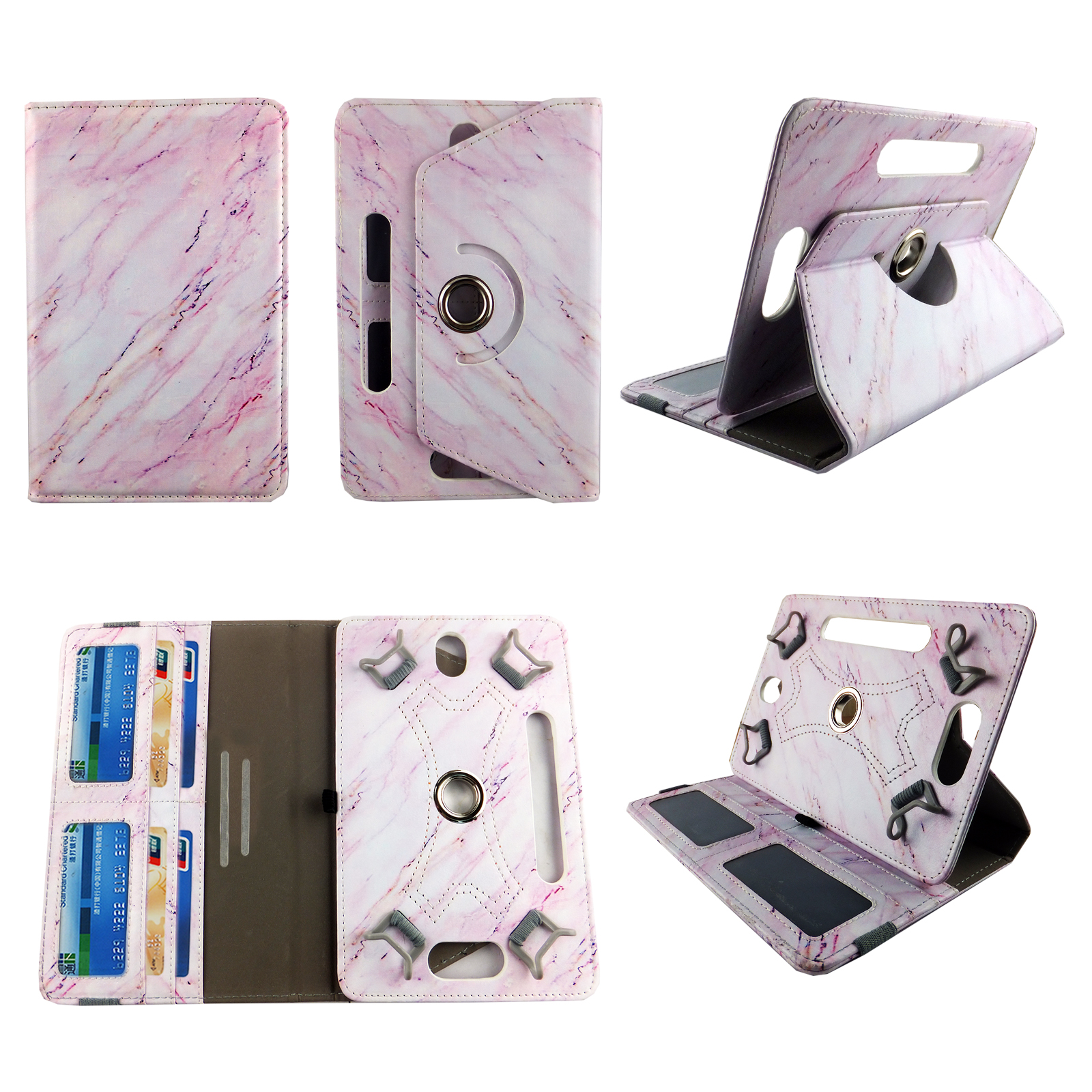 "Pink Marble tablet case 7 inch for LG G Pad LTE 7"" 7inch  android tablet cases 360 rotating slim folio stand protector pu leather cover travel e-reader cash slots"