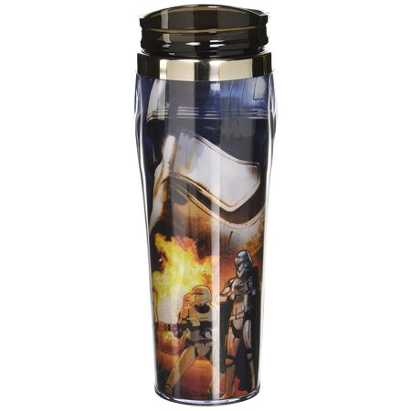 (Silver Buffalo SE0570 Disney Star Wars Episode 7 Captain Phasma Curved Plastic Travel Tumbler, 16-Ounces)