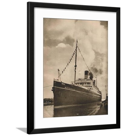 Cunard White Star Line ('One of the Largest Ships afloat, the Majestic owned by the Cunard White Star Line', 1936 Framed Print Wall Art)