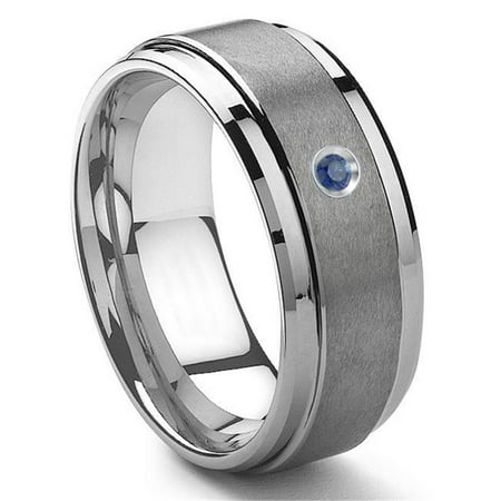 - Tungsten Carbide 9MM Sapphire Wedding Band ring w/ Stepped edges Sz 10.0