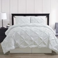 Luxury Oxford Pinch Pleated Down Alternative Comforter Set With Bed Skirt- White- Twin XL Size