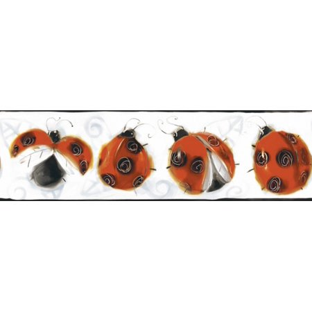 Jelly Bugs Border - York Wallcoverings BT2916BD Lady bug Wallpaper Border, Black Red