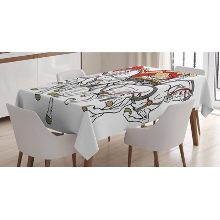 Toga Party Tablecloth, Hellenic Man on the Chariot Drawn by Roman Horses Early Ages Equestrian Image, Rectangular Table Cover for Dining Room Kitchen, 52 X 70 Inches, Multicolor, by Ambesonne