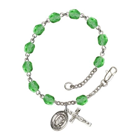 St. Hubert of Liege Silver Plate Rosary Bracelet 6mm August Green Fire Polished Beads Crucifix Size 5/8 x 1/4 medal charm