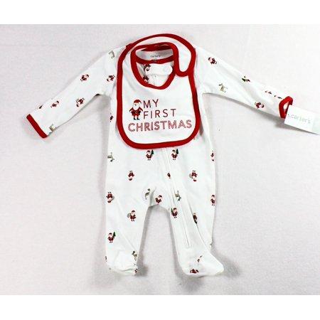 d0732079f2f NEW White Size Newborn Baby Girls My First Christmas Pajama Bib Set -  Walmart.com