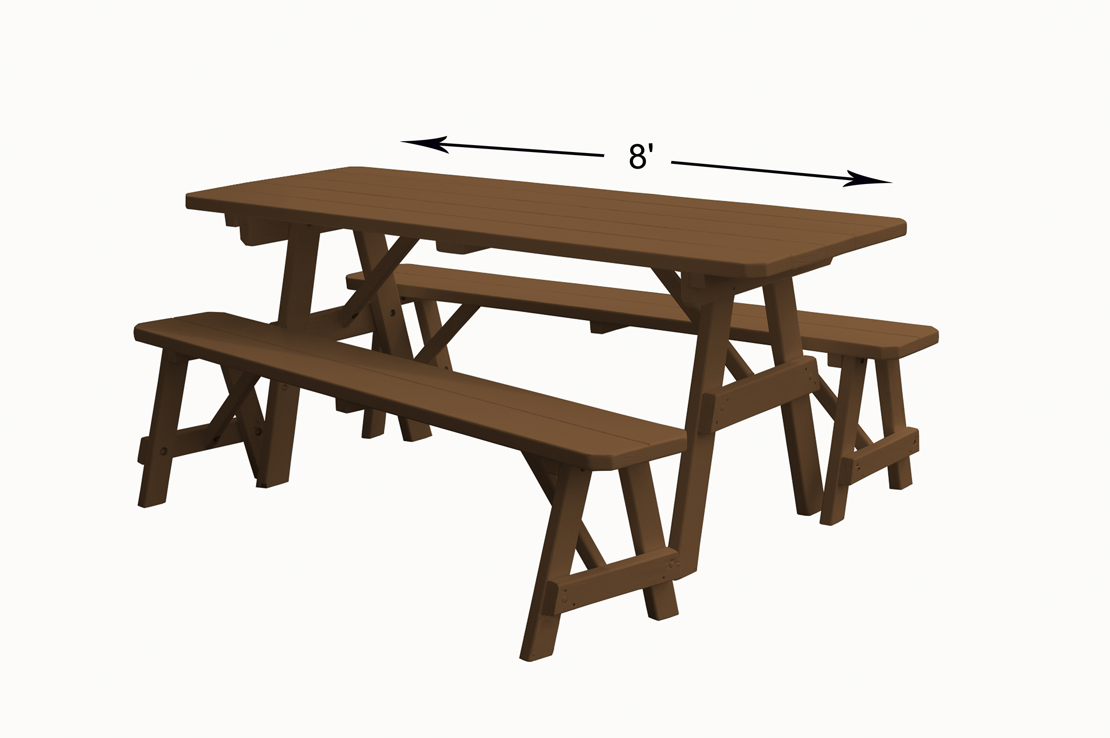 8 foot Traditional Wooden Picnic Table with 2 Wooden Benches by