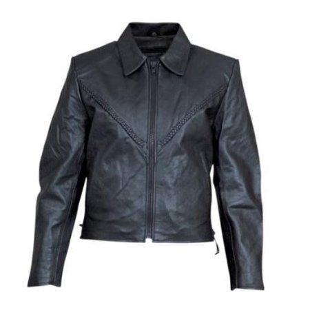 Ladies Small Biker braided Cowhide Leather Full sleeve removable zip out lining Biker Jacket