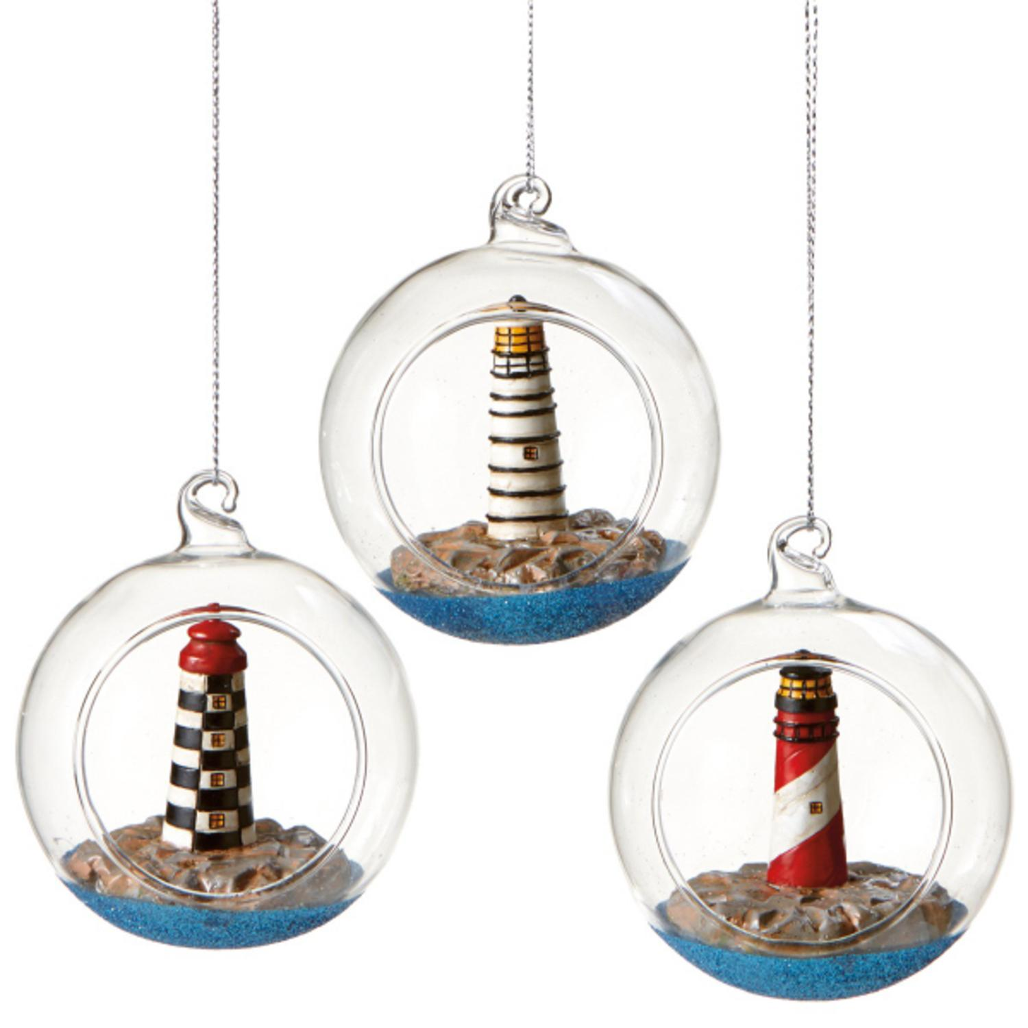 Seaside Escape Red and White Spiral Lighthouse Globe Shadow Box Nautical Glass Christmas Ornament 3""