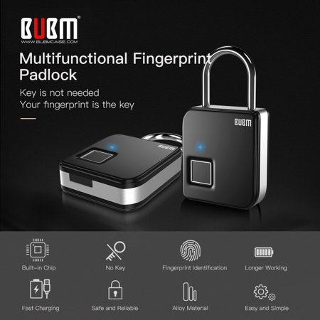 BUBM Smart Fingerprint Padlock Portable Intelligent Lock with 10 Fingerprint Recordings IP65 Waterproof USB Rechargeable Luggage and Travel Use - image 3 of 7