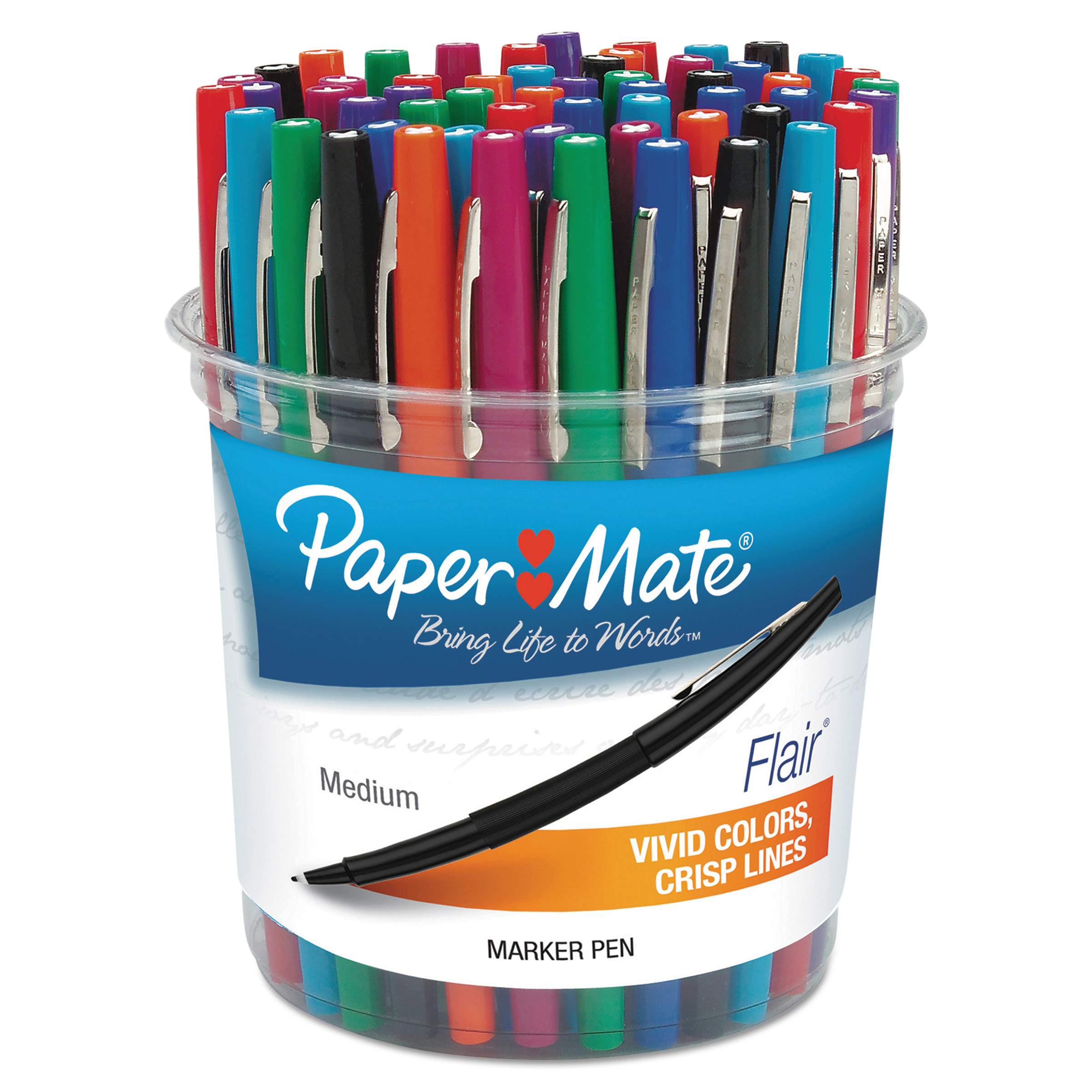 Paper Mate Point Guard Flair Bullet Point Stick Pen, Assorted Ink, 1.4mm, 48 Pens/Set -PAP4651