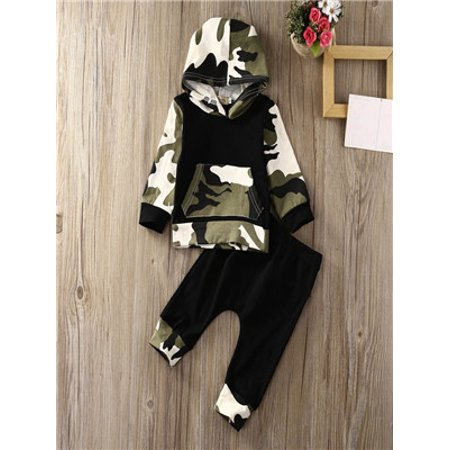 2Pcs Toddler Infant Baby Boy Clothes Set Camouflage Hooded Tops+Pants Outfits for $<!---->