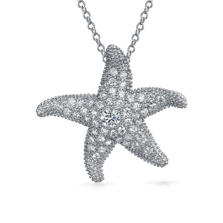 Large Starfish Necklace (Large Pave Cubic Zirconia CZ Nautical Beach Starfish Pendant Necklace For Women Girlfriend 925 Sterling Silver)
