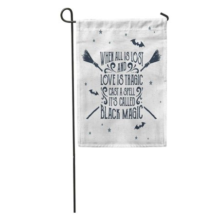 When Hallowen (LADDKE Halloween Label Crossed Brooms and When All is Lost Love Garden Flag Decorative Flag House Banner 12x18)