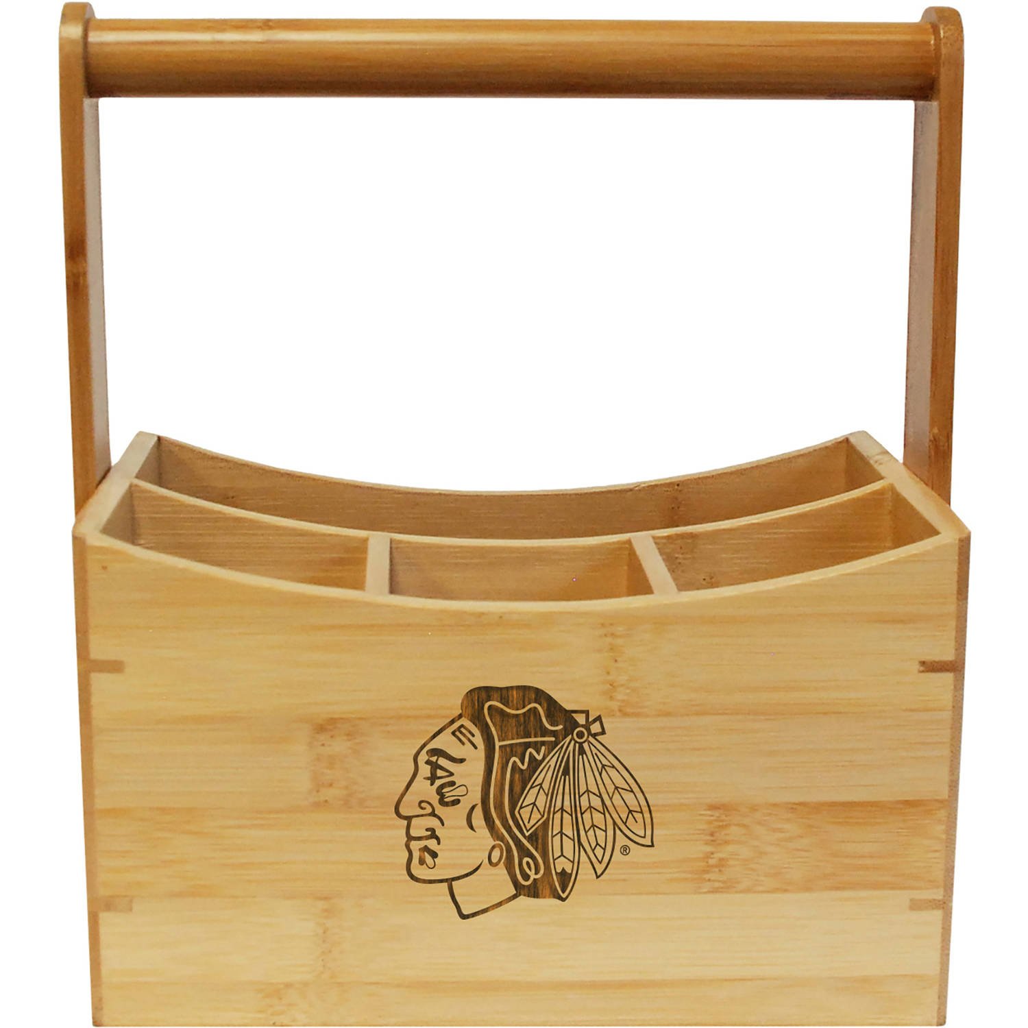 NHL Team Engraved Bamboo Utensil Caddy by
