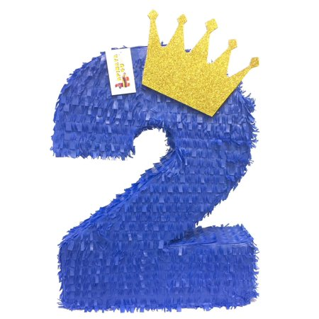 APINATA4U Royal Blue & Gold Crown Number Two Pinata Little Prince Theme Party Favor](Little Mermaid Pinatas)