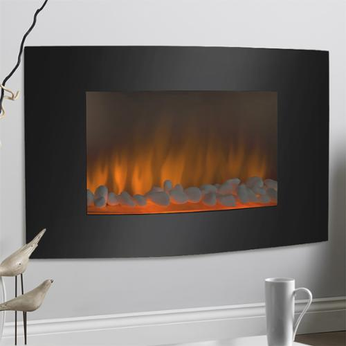 Large 1500W Heat Adjustable Electric Wall Mount & Free Standing Fireplace Heater with Glass XL