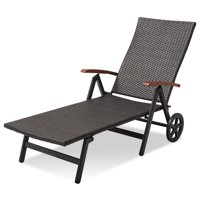 Patio Rattan Folding Recliner Adjustable Lounge Chair