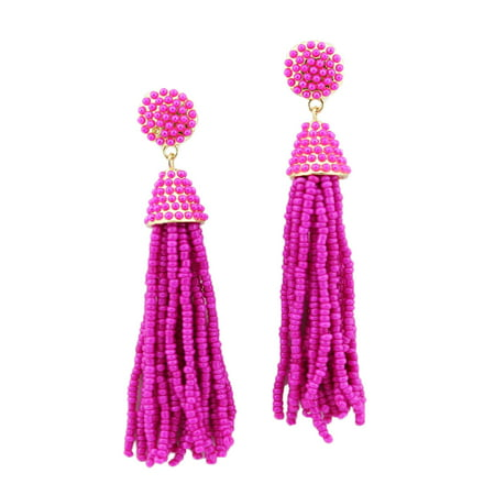 Women Fashion Handmade Hand Beaded Tassels Long Earrings (Hot Pink)