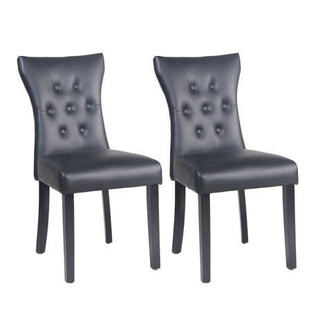 Buy-Hive 2PCS Dining Chairs PU Leather Designed Home Kitchen Dining Room  Chair Wood Legs - Walmart.com