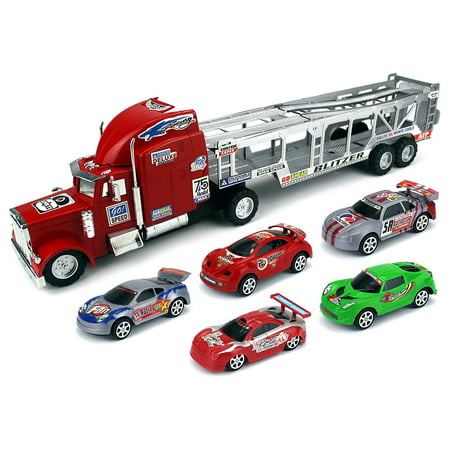 Speed Blitzer Trailer Children's Friction Toy Truck Ready To Run Big Size w/ 5 Toy Cars, No Batteries Required (Colors May Vary)](Toy Big Cars)