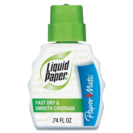 Paper Mate, PAP5640115, Liquid Paper Fast Dry Correction Fluid, 12 / Dozen, White