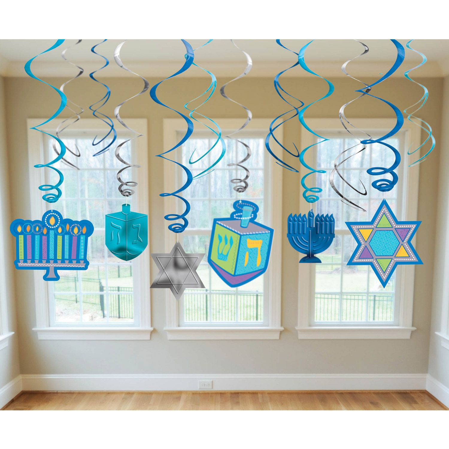 Hanukkah Hanging Foil Decorations (12 Pieces) - Party Supplies