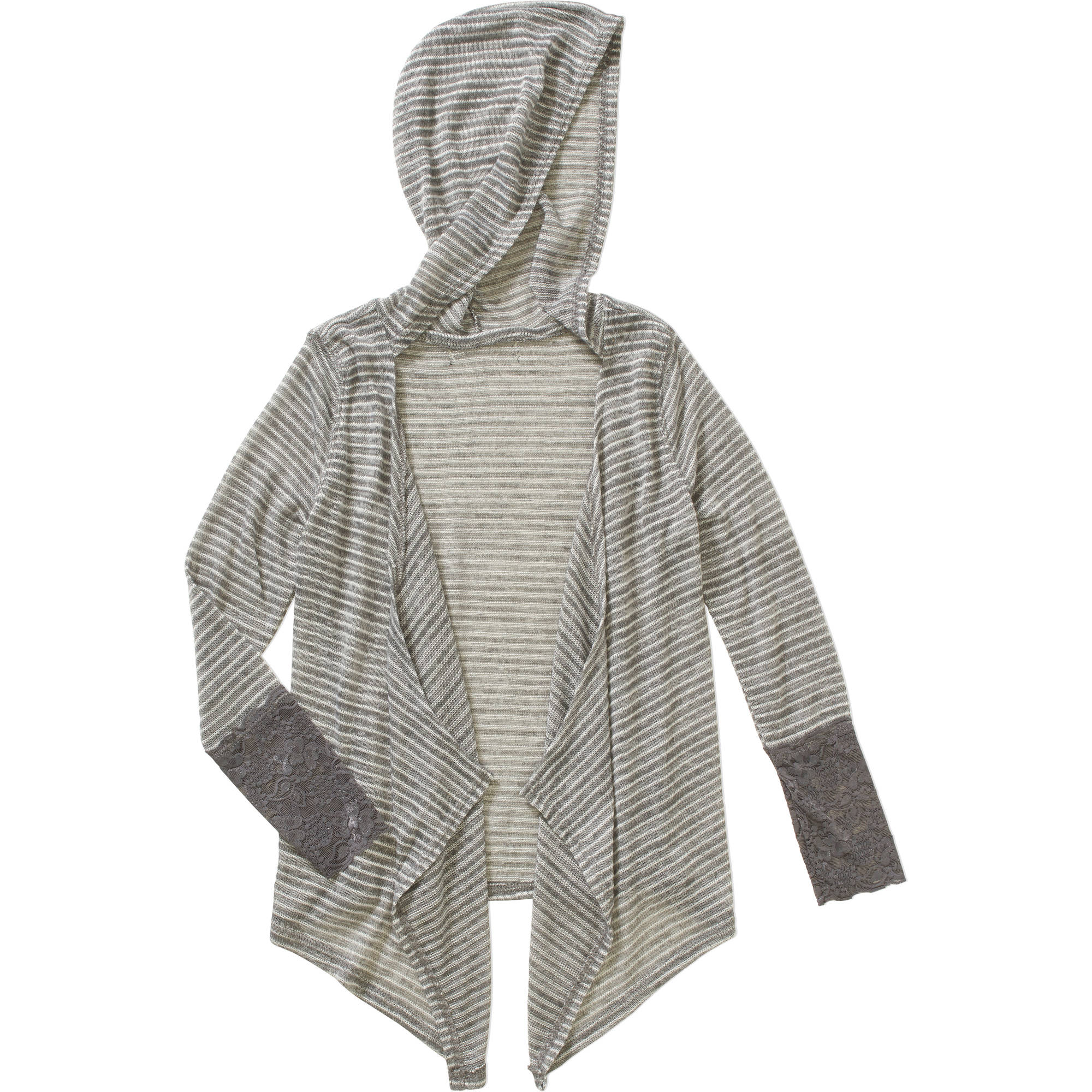 Girls' Super Soft Yummy Striped Cardigan with Lace Cuffs