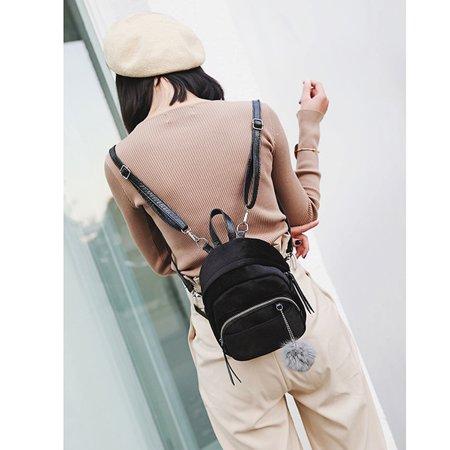 Mini Fur Ball Backpack Fashion Shoulder Bag Solid Women Girls Travel School - Fur Shoulder Bag