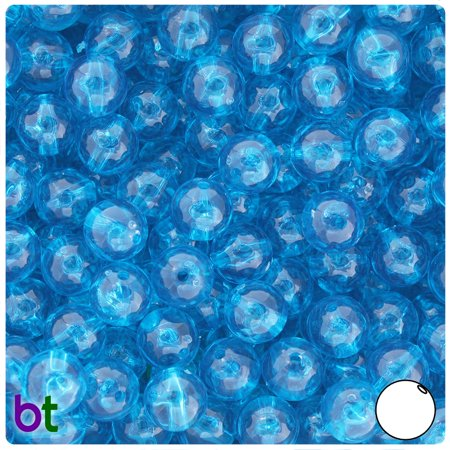 BeadTin Turquoise Transparent 10mm Round Craft Beads (150pcs)