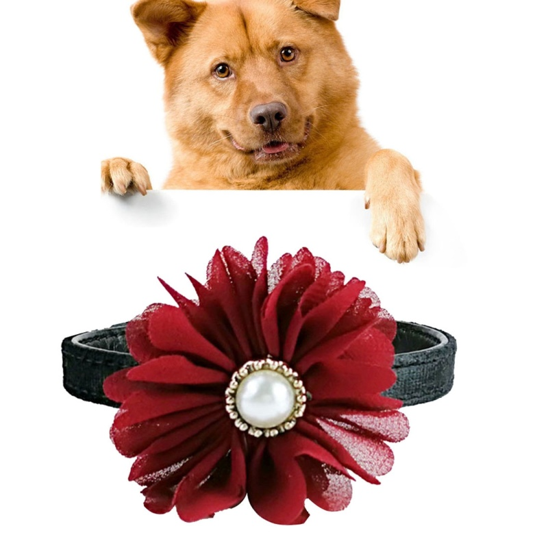 Pet Cat Dog Pearl Flower Decoration Plush Adjustable Collar, Size:1.3*35.0cm (Red)