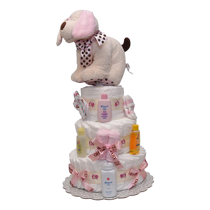 Puppy on the Run Girls Diaper Cake 4 Tiers