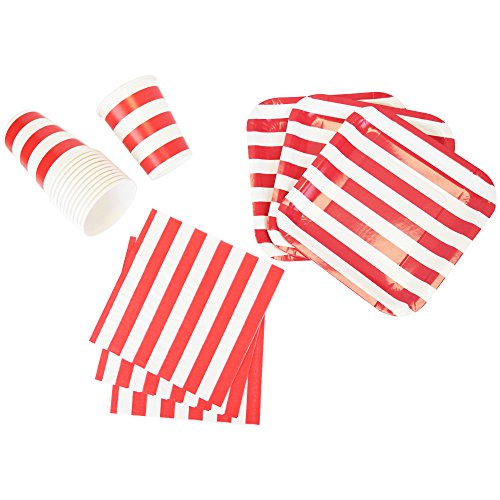 Just Artifacts Disposable Party Tableware 44pcs Striped Pattern Dining Set (Square Plates, Cups, Napkins) - Color: Red - Decorative Tableware for Parties, Baby Showers, and Life Celebrations!