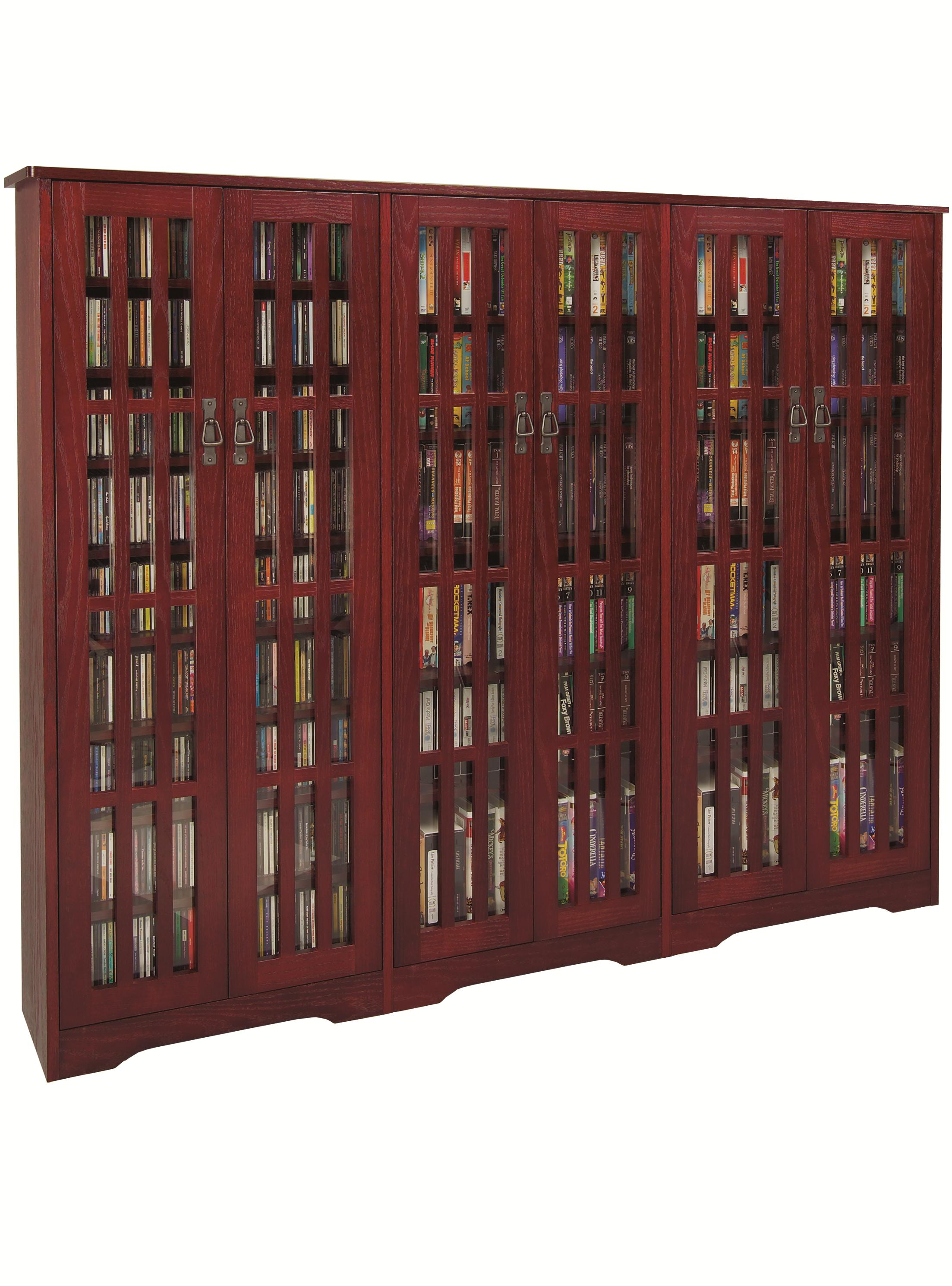Inlaid Glass Mission Media Cabinet (M-1431 Series)-Finish:Dark Cherry by Leslie Dame