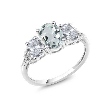 Diamond Accent 10k White Gold 2.15 Ct Oval Sky Blue Aquamarine White Topaz Ring Aquamarine Blue Topaz Ring