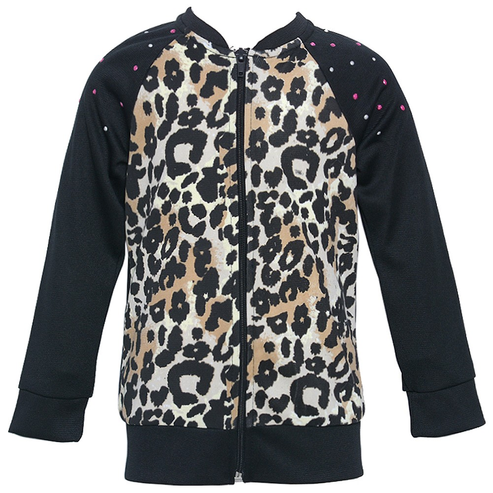 Little Girls Tan Black Leopard Spotted Print Zippered Jacket 5