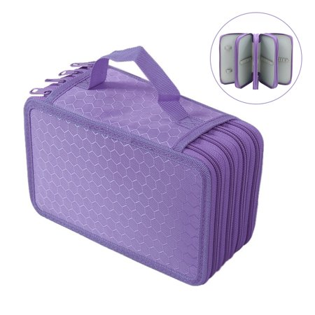 72 Slots Pencil Holder Organizer 4-layer Colored Pencil Case Students Pen Pouch Bag Stationary Box with Zipper for Art School Office Travel (Purple) - Art Boxes