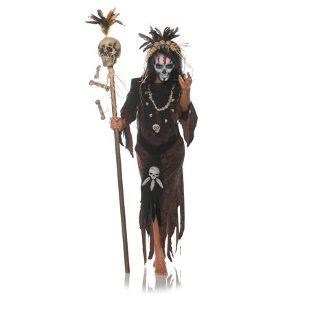 Hex Womens Adult Witch Doctor Voo Doo Magic Halloween Costume - Halloween Domo Costume